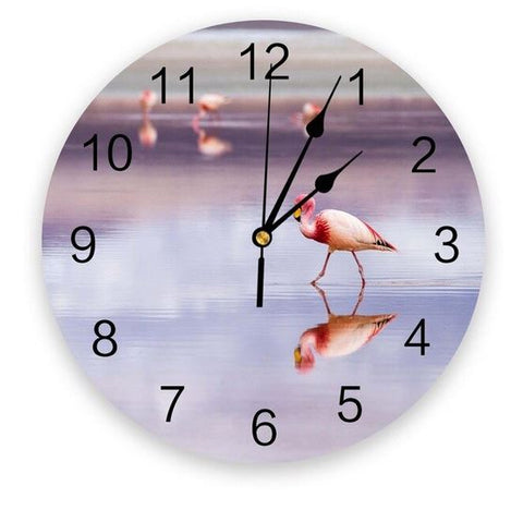 horloge flamant rose 3d