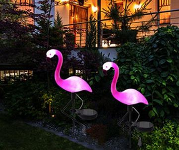 lampe solaire flamant rose balcon terrasse