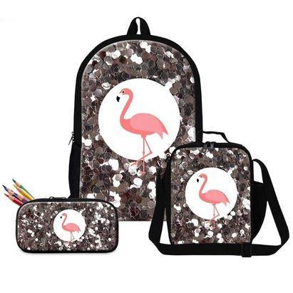 cartable sac et trousse paillette flamant rose