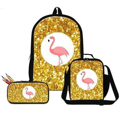 cartable et trousse flamant rose paillette or