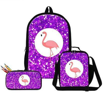cartables flamant rose pailleté trousse lot