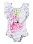 maillot de bain 1 piece flamant rose blanc or