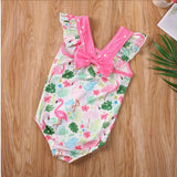 maillot fille flamant rose noeud