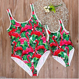 maillots 1 pieces flamant rose tropical assorti femme fille