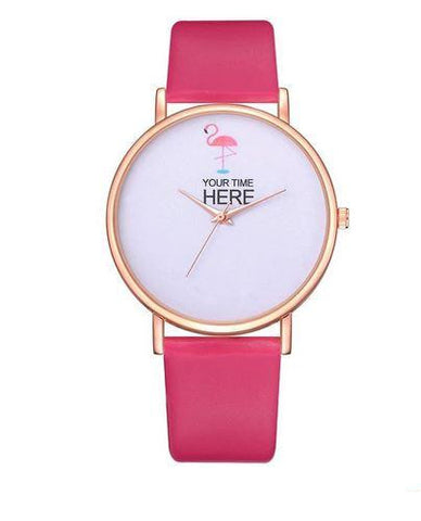 montre en cuir rose flash flamant rose