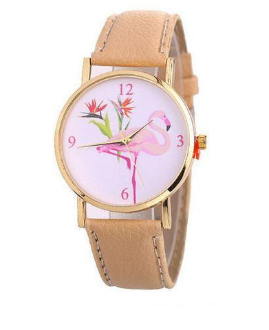 montre flamant rose en cuir camel