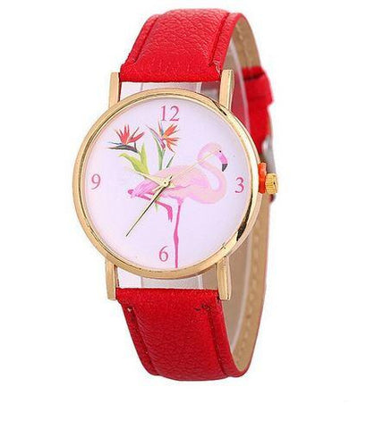 montre flamant rose cuir rouge tropical