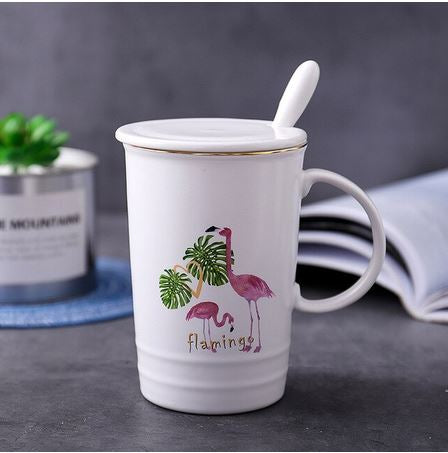 tasse ceramique flamant rose tropical