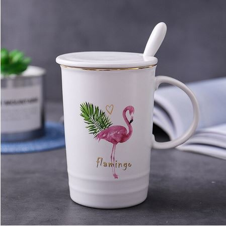 tasse porcelaine flamant rose exotique