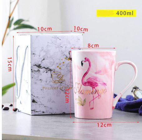 mug flamingo rose