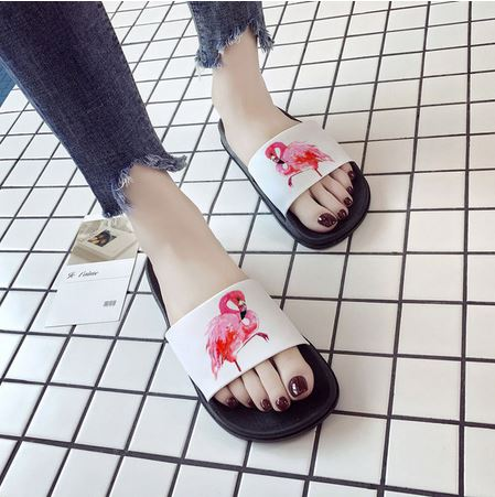 mules blanches flamant rose fille mode