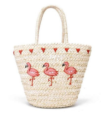 panier flamant rose broderie