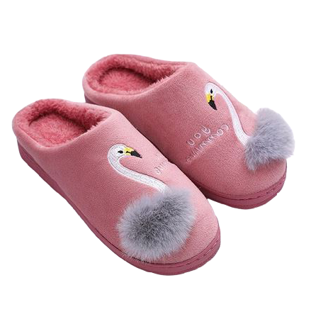 chaussons fille flamant rose