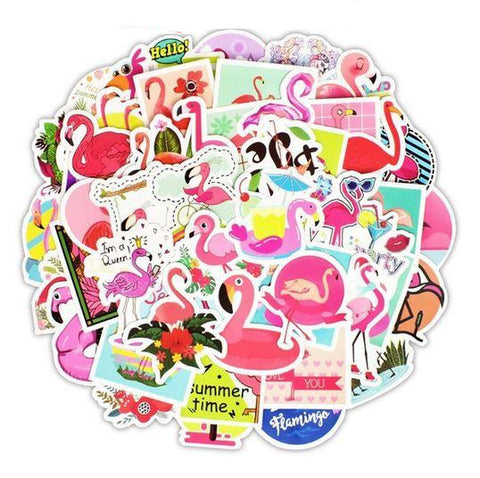 stickers flamant rose vacances ete bouees