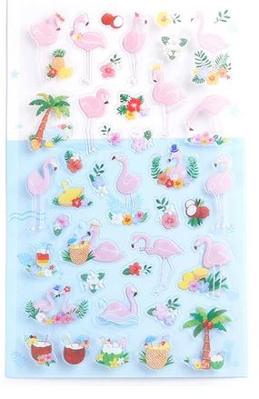 stickers flamant rose tropical caraibes vacances floride
