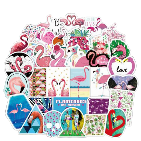 stickers flamant rose kawaii