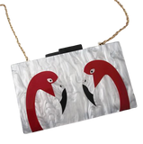 mini sac tendance flamant rose chainette or
