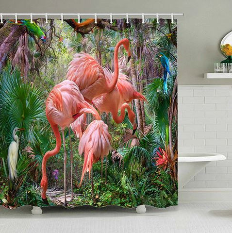 rideau de douche flamant rose tropical