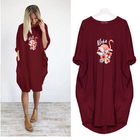 robe flamant rose boheme hippie chic