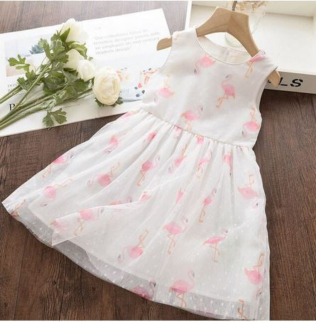 robe blanche flamant rose fille