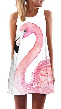 robe flamant rose sans manches mode