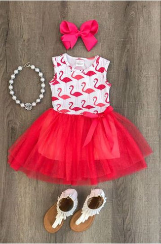 robe flamant rose rouge