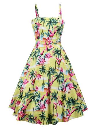 robe flamant rose exotique pin up