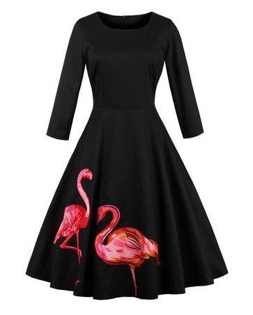 robe pin up flamant rose manches longues