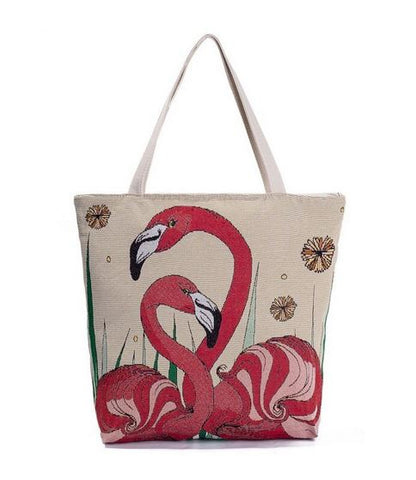 sac toile flamant rose broderie chic pas cher ecologique