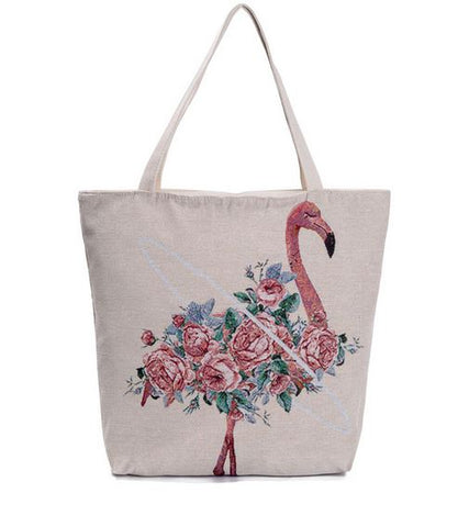 sac toile flamant rose cabas shopping plage