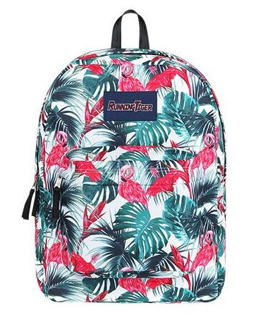 sac d'ecole flamant rose decor jungle style eastpak
