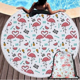 belle serviette de piscine flamant rose ronde