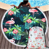 serviette de plage facile a transporter flamant rose