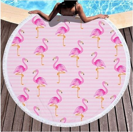 serviettes de plage avec flamants roses