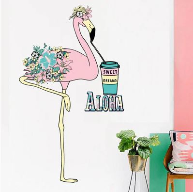 sticker mural flamant rose pour interieur a coller