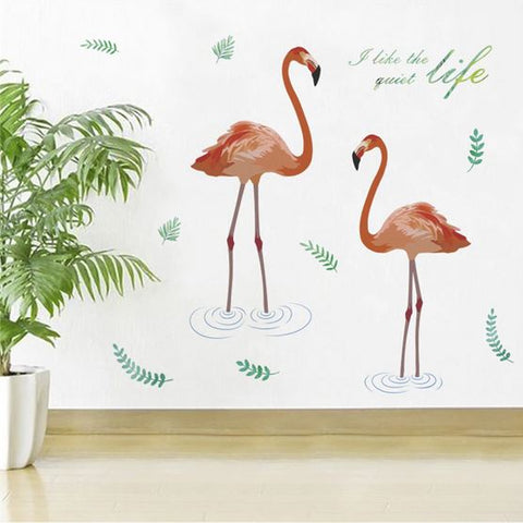 flamant rose en sticker mural