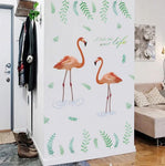 autocollant sticker flamant rose pour pan de mur