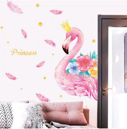 grand stickers flamant rose pour fille princesse