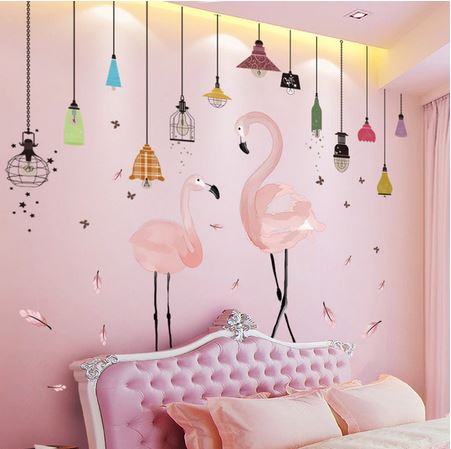 sticker mural original flamant rose et lampes