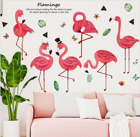 stickers mural flamant rose rigolo salon tendance pas cher
