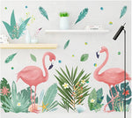 autocollant mural flamant rose stickers tropical tendre