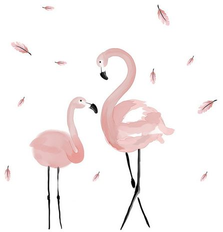 2 flamants roses stickers muraux plumes