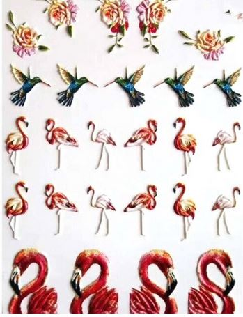 stickers 3d flamant rose ongles