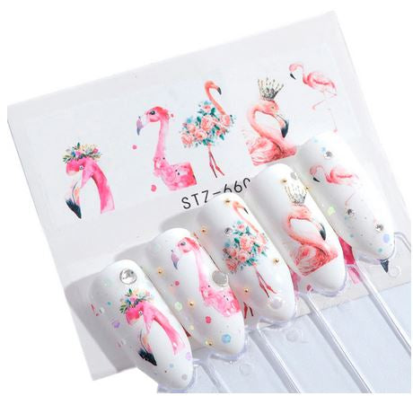 stickers flamant rose pour ongles luxe brillant couronne