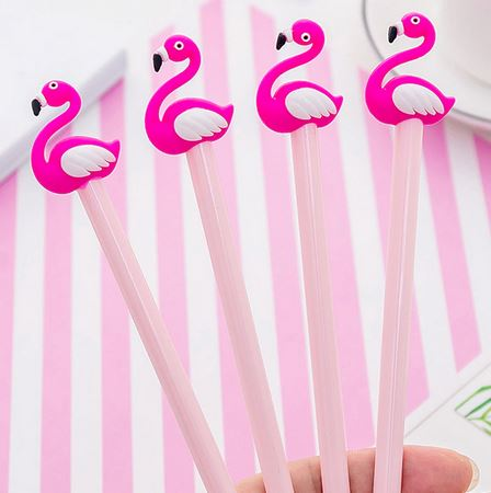 stylo embout flamant rose fluo