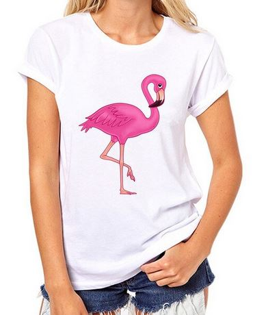 t-shirt motif flamant rose air coquin timide