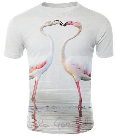 t shirt homme avec photo flamant rose realiste