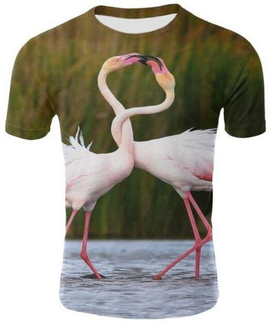t-shirt avec flamant rose photo realiste homme