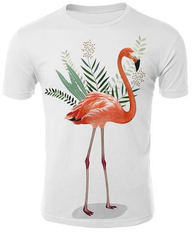 t-shirt flamant rose realiste homme
