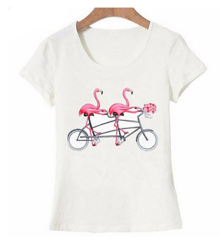 t-shirt flamant rose femme velo tandem rigolo simple classe